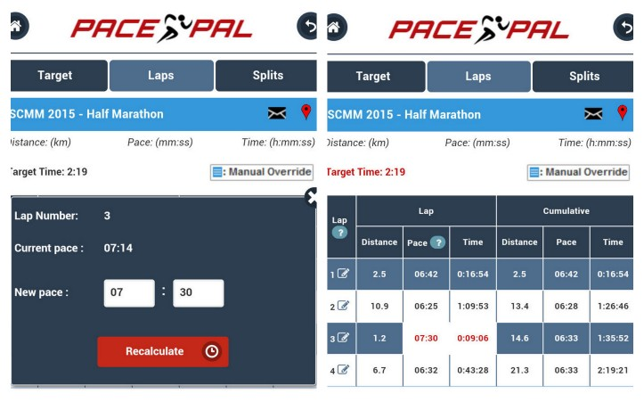 PacePal's manual override feature allows you to tailor your race strategy