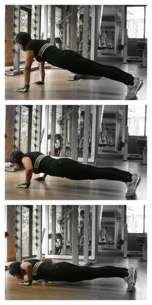 Core engaged plank-like in all positions