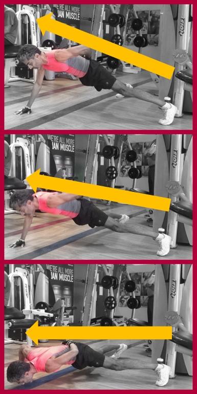 Complete FULL range of motion for the 1-arm Pushup